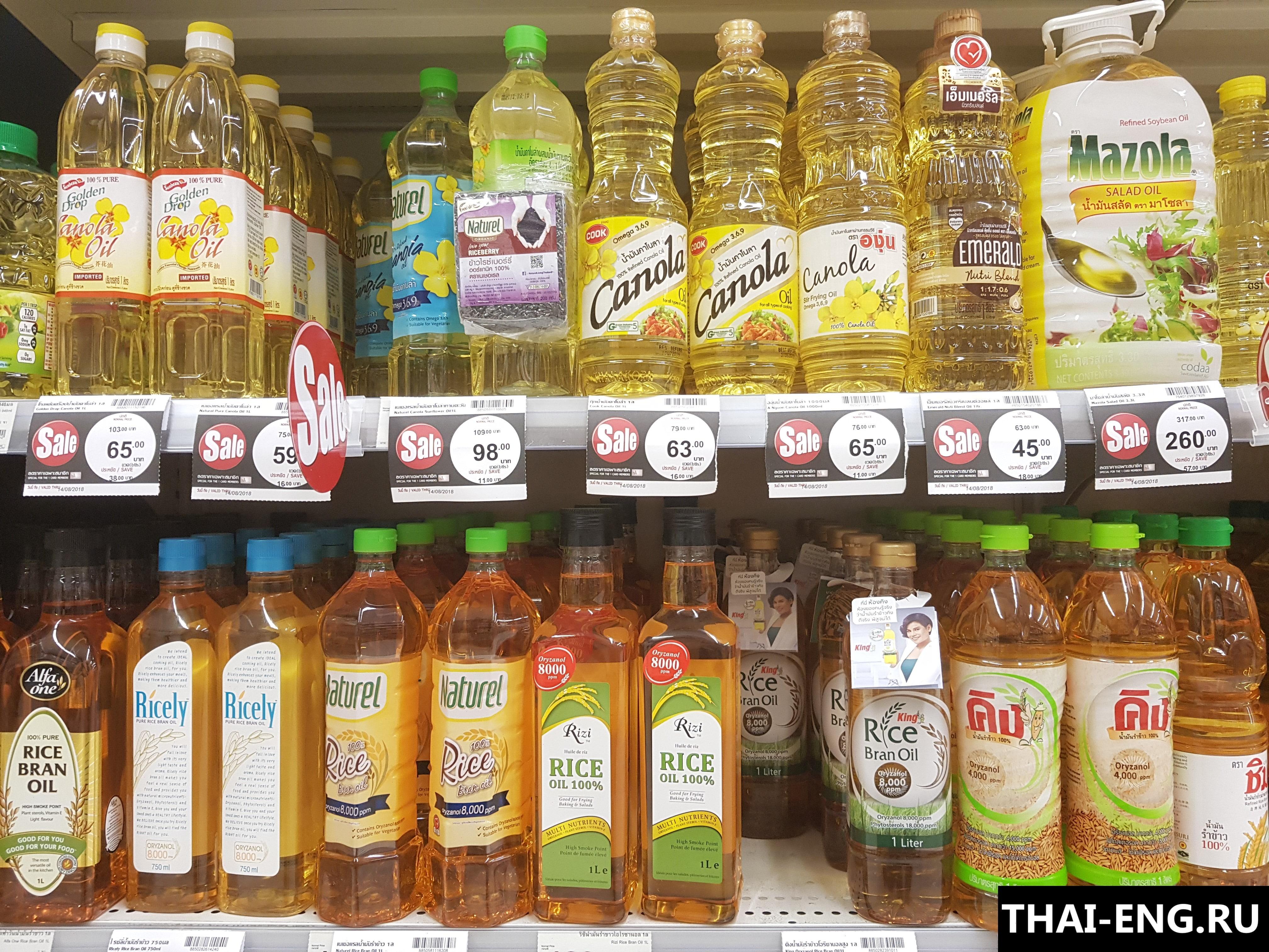 Импорт подсолнечного масла в Таиланд